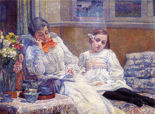 Madame Theo Van Rysselberghe And Her Daughter By Theo Van Rysselberghe