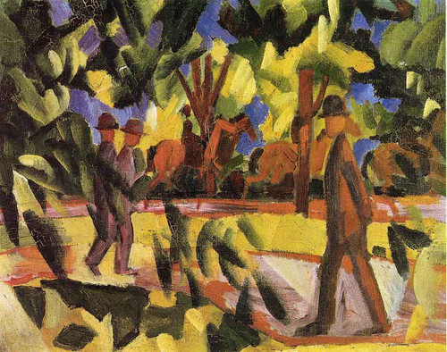 Riders And Strollers In The Avenue By August Macke