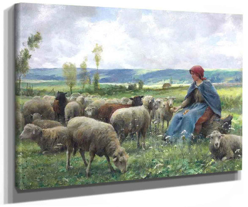Shepherdess And Sheep By Julien Dupre