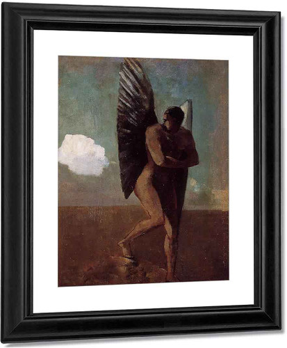 Fallen Angel Looking At At Cloud By Odilon Redon