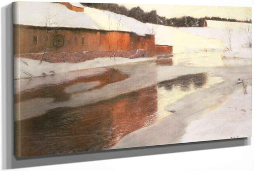 A Factory Building Near An Icy River In Winter by Fritz Thaulow