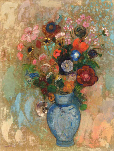 Flowers In A Blue Vase1 By Odilon Redon