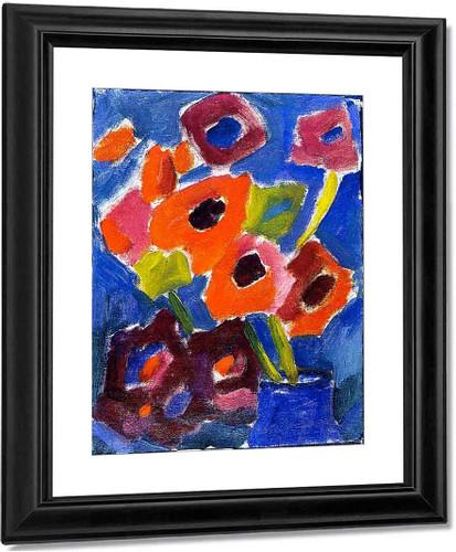 Flowers In A Blue Vase By Alexei Jawlensky By Alexei Jawlensky