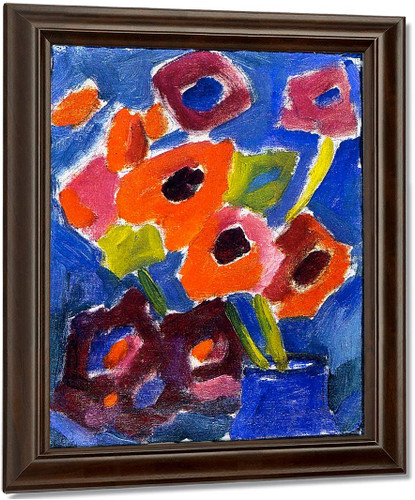 Flowers In A Blue Vase By Alexei Jawlensky