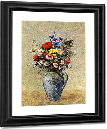 Flowers In A Vase With One Handle By Odilon Redon