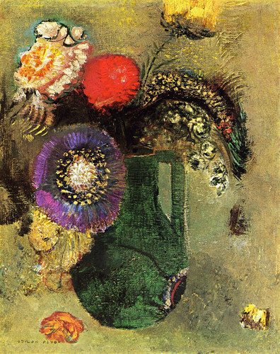 Flowers In Green Vase With Handles By Odilon Redon
