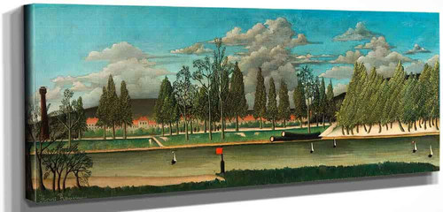View Of The Quai D Asnieres (Also Known As The Canal And Landscape With Tree Trunks) By Henri Rousseau
