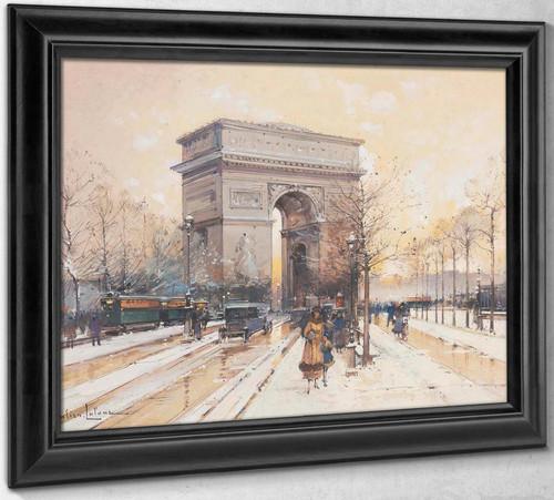 Larc De Triomphe Sous La Neige by Eugene Galien Laloue