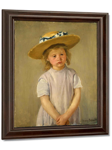 Little Girl In A Big Straw Hat And A Pinnafore By Cassatt Mary by Mary Cassatt