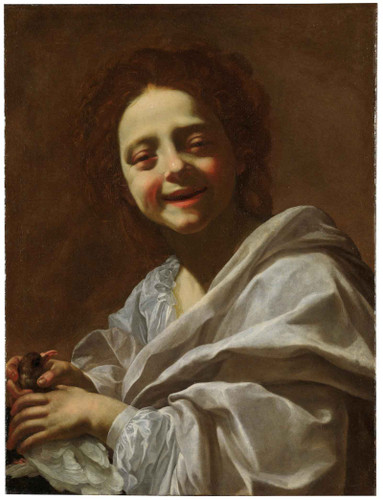 Portrait Of A Girl With A Pigeon by Nicholas Poussin