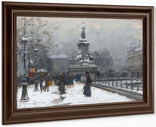 La Place De La Republique (Neige) by Eugene Galien Laloue