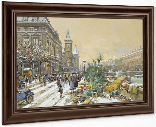 Le Quai Aux Fleurs Et La Conciergerie by Eugene Galien Laloue