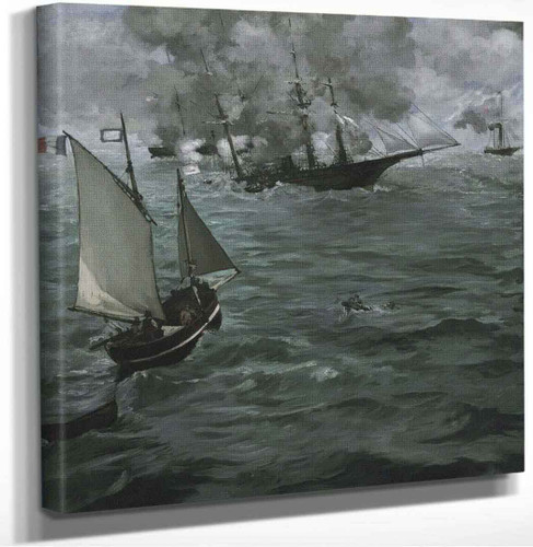 The Battle Of The Kearsarge And The Alabama By Manet Edouard by Manet Edouard