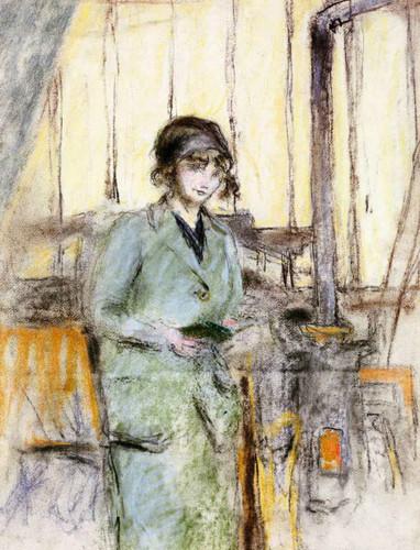 Girl In Green Standing In The Studio By Edouard Vuillard