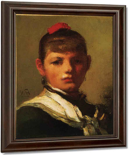Girl With Red Hair Ribbon By William Morris Hunt
