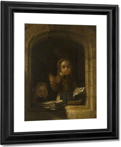 Girls With A Copybook, Within A Stone Arch By Godfried Schalcken