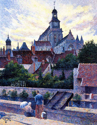Gisors Cathedral, View From The Fosse Aux Tanneurs By Maximilien Luce By Maximilien Luce