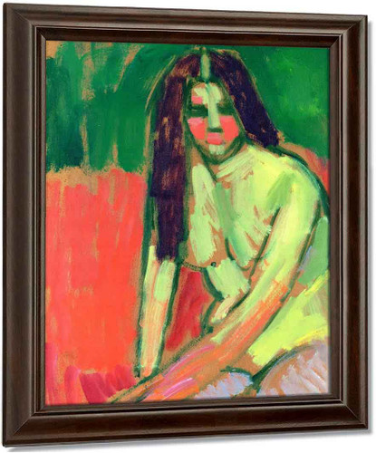 Half Nude Figure With Long Hair Sitting Bent By Alexei Jawlensky