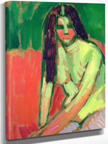 Half Nude Figure With Long Hair Sitting Bent By Alexei Jawlensky By Alexei Jawlensky