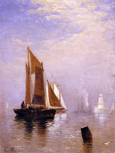 In New York Harbor By Edward Moran