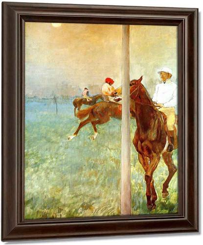 Jockeys Before The Start With Flagpoll By Edgar Degas