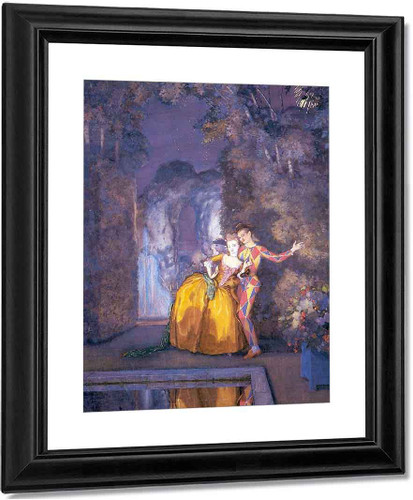Lady And Harlequin1 By Konstantin Somov