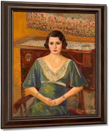 Lady In A Green Dress By Boris Grigoriev