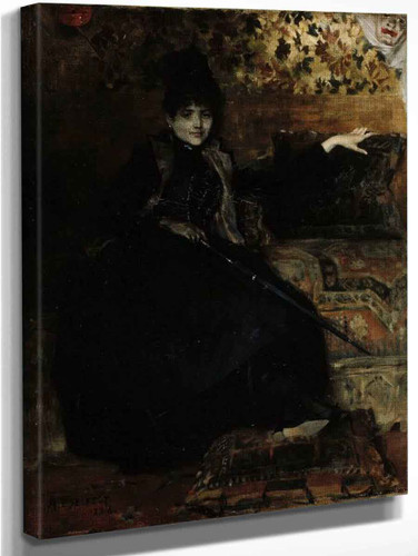 Lady In Black, Seated By Albert Edelfelt