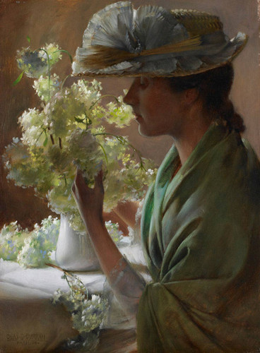Lady With A Bouquet By Charles Courtney Curran By Charles Courtney Curran