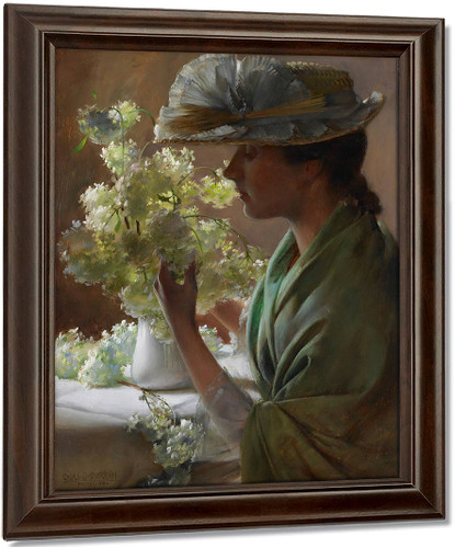 Lady With A Bouquet By Charles Courtney Curran Oil on Canvas Reproduction