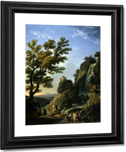 Landscape With Waterfall And Figures By Claude Joseph Vernet