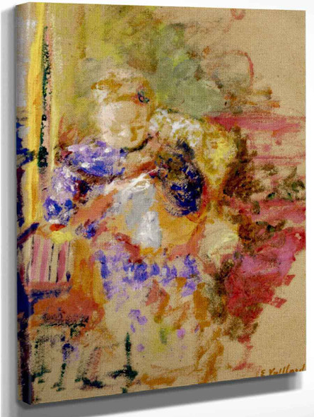 Madame Vuillard Sewing By Edouard Vuillard