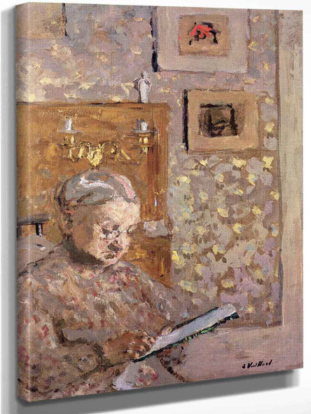 Madame Vuillard With Wallpaper By Edouard Vuillard