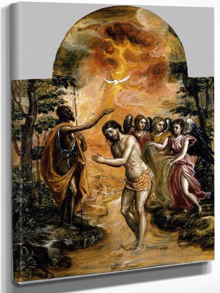 Modena Triptych Baptism Of Christ By El Greco By El Greco