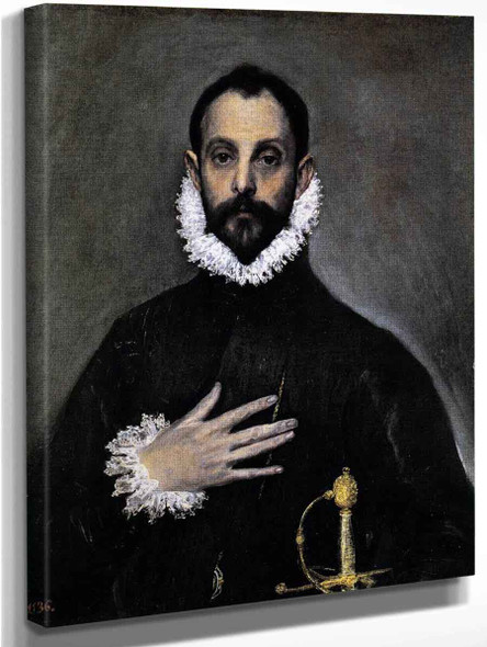 Nobleman With His Hand On His Chest By El Greco By El Greco