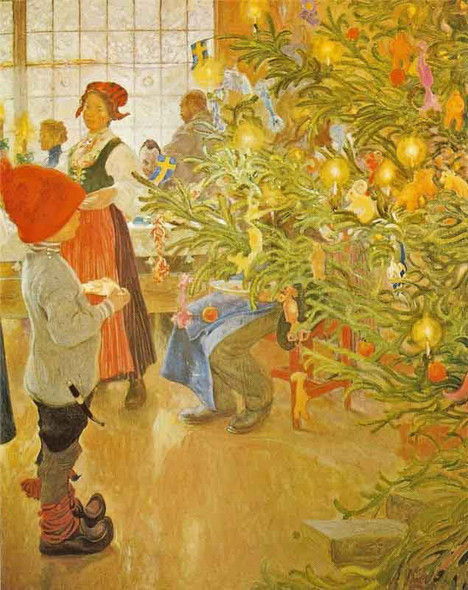 Now It's Christmas Again By Carl Larsson