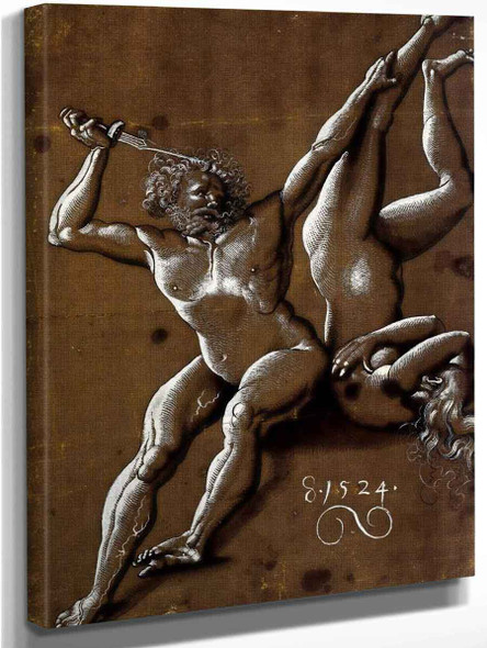 Nude Man Threatening A Nude Woman By Hans Baldung Grien By Hans Baldung Grien
