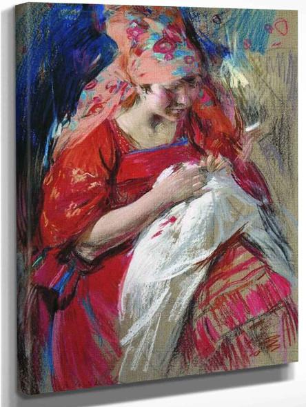 Peasant Girl Sewing By Abram Efimovich Arkhipov