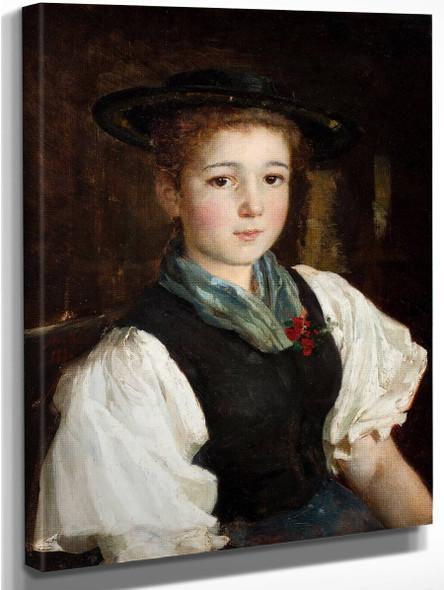 Portrait Of A Girl3 By Albert Anker