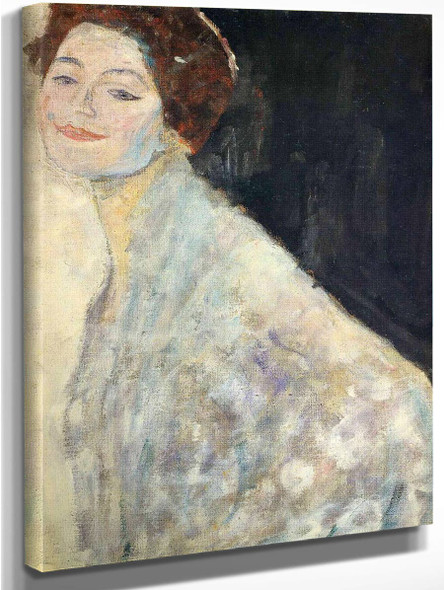 Portrait Of A Lady In White  By Gustav Klimt