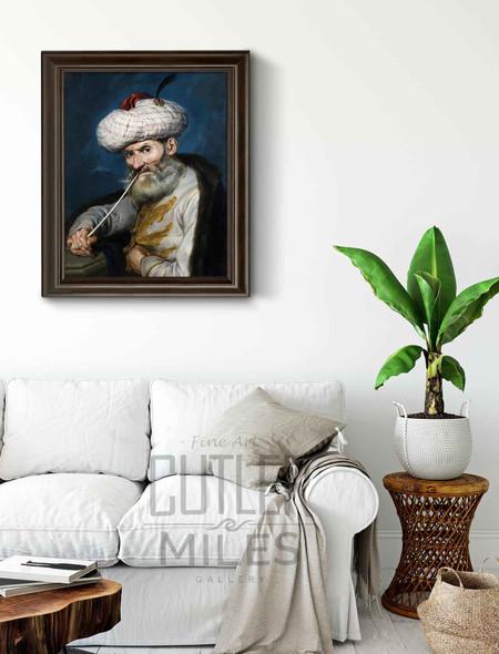 Portrait Of A Smoking Man In Oriental Habit By Giacomo Ceruti