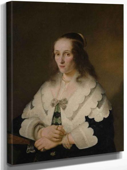 Portrait Of A Woman By Ferdinand Bol