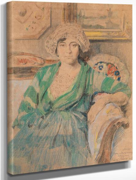 Portrait Of The Artist's Wife Irina Voitsekhovskaya Vinogradova By Sergei Arsenevich Vinogradov Russian 1869 1938 Art Reproduction