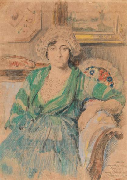 Portrait Of The Artist's Wife Irina Voitsekhovskaya Vinogradova By Sergei Arsenevich Vinogradov Russian 1869 1938