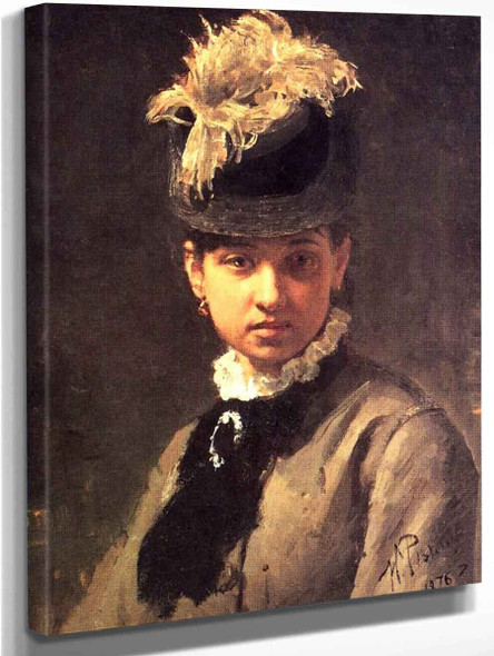 Portrait Of Vera Repina, The Artist's Wife. By Ilia Efimovich Repin Art Reproduction