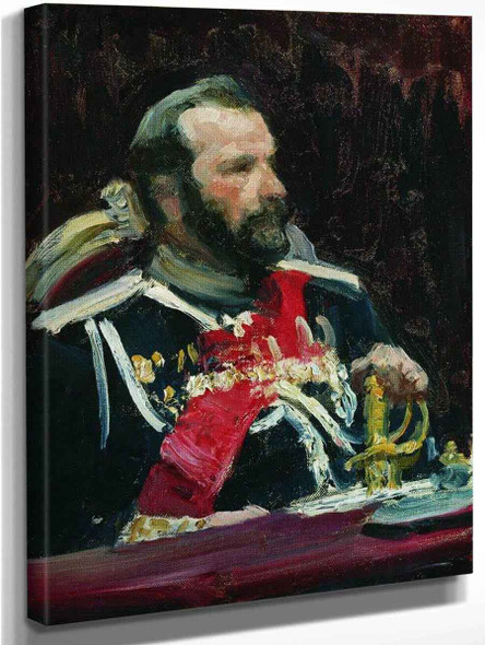 Portrait Of War Minister, Infantry General And Member Of State Council State Aleksei Nikolayevich Kuropatkin. Study. By Ilia Efimovich Repin