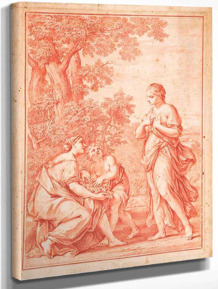 Rachel And Leah In A Landscape By Marcantonio Franceschini  By Marcantonio Franceschini