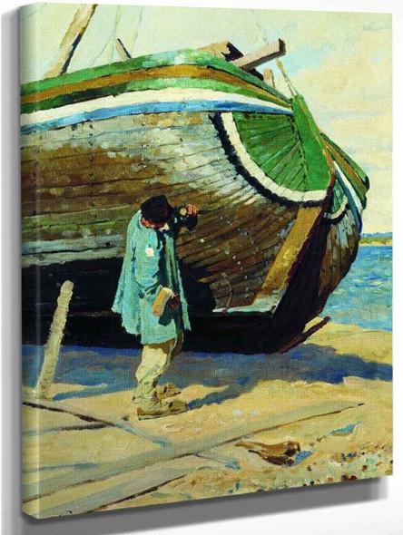 Repairing The Boat By Sergei Arsenevich Vinogradov Russian 1869 1938