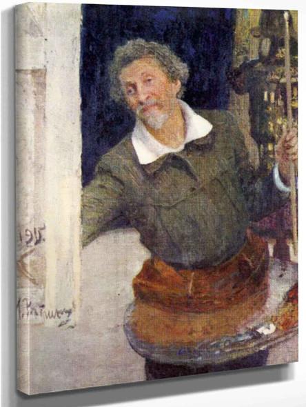 Self Portrait At Work. 1 By Ilia Efimovich Repin