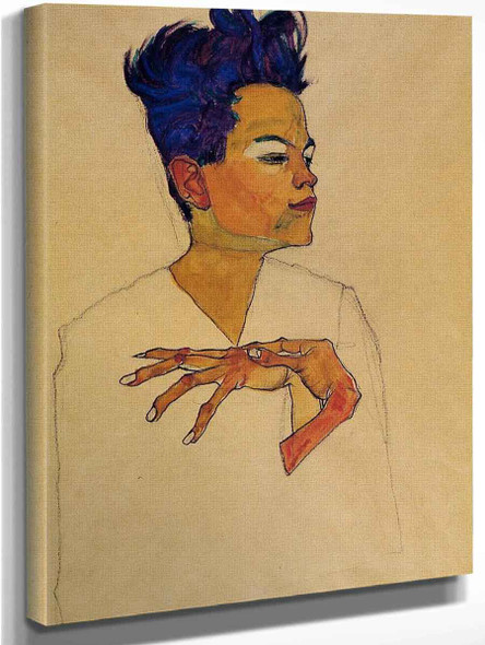 Self Portrait With Hands On Chest By Egon Schiele